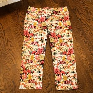 Peck & Peck floral stretch pull on pant sz 14
